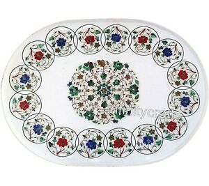 24 x 36 Inches White Office Table Top Oval Coffee Table with Multi Color Stone
