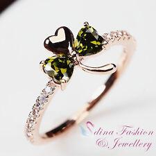 18K Rose Gold GP Made With Swarovski Crystal Exquisite Three Leaf Clover Ring
