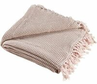 Madura Gabin Loraine 100% Cotton Plaid Throw Rose 200 x 140cm RRP £111 (651)