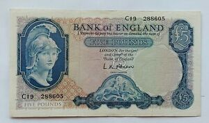 1957 Bank Of England Five Pounds Rare Bank Note