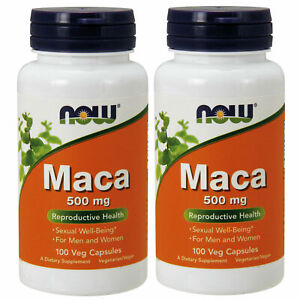 2 x NOW Foods MACA 500 mg 100 Caps, Rich in Saponins, FRESH, MADE IN USA