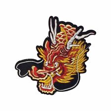 Orange Red Chinese Dragon (Iron on) Embroidery Applique Patch Sew Iron Badge