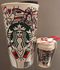 Starbucks Coffee Christmas Holiday Ceramic Tumbler Travel Ornament SET 2017 NEW