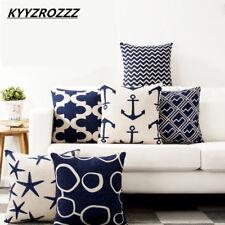 Pillow Case Mediterranean Cushion Cover Cotton Anchor Geometric Sailing Printed