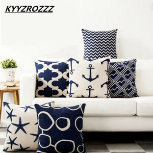 Pillow Case Mediterranean Cushion Cover Cotton Anchor Geometric Sailing Printed
