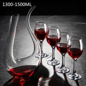 1500ML Glass Wine Decanter U Shaped Luxuriou Crystal Wine Pourer Red Wine Carafe