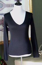 Michael Stars Black Cotton/Nylon Metallic V-Neck Long Sleeve Top OS