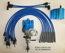 FORD 351W Windsor BLUE Small Female HEI Distributor  +50K COIL +Spark Plug Wires
