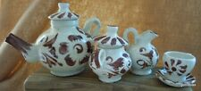 Vintage 13 Piece Small Tea Set Brown and White Hand Made Hand Painted Special