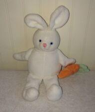 "Gymboree White Bunny Rabbit Baby Plush Toy Detachable Carrot Rattle 9"""