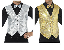 NEW Sequin Waistcoat in Gold or Silver or Red, Men's Party Fancy Dress Costume