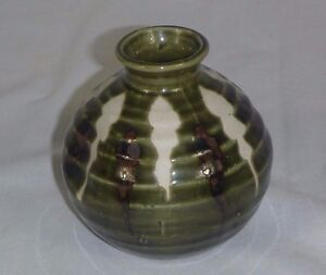 Vintage 70s Imperial Imports Pottery Pinch Style Weed Pot Green Brown - Japan
