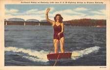 Western Kentucky female surfboard rider near US 68 Hwy Bridge antique pc Z43822