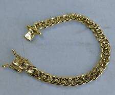 "14K Gold Miami Cuban Curb Link Women Bracelet 41.8 Grams 7""  8mm Great Quality!"