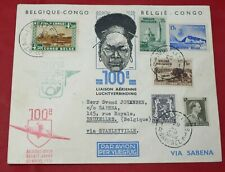 Belgian Congo Sabena 1938 Water Exhibition Flight Cover Mitumba Forest to Brusse