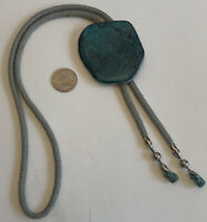 Vintage Navajo Sterling Silver Turquoise Bolo Tie Hand Crafted Unsigned