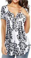 AMCLOS Womens Tunic Floral Tops Short Sleeve/Long, 1-multi-02, Size Medium iPox