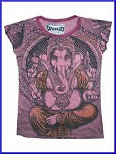 Lady t shirt cotton cap sleeve Ganesha Chakra Om Nirvana Yoga Sure Love Sz S d2