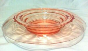 """LARGE ANTIQUE ROSE PINK DEPRESSION GLASS WATER FALL CENTERPIECE BOWL 14"""" WIDE"""