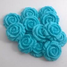 12 TURQUOISE/JADE ROSES edible sugar flowers cup cake decorations toppers weddin