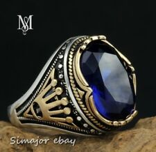 Crown MEN RING 925 STERLING SILVER LAB BLUE SAPPHIRE jewelry Royal monarchy