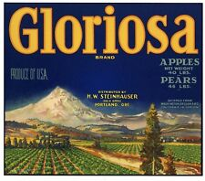 GLORIOSA Brand, Mt Hood, Portland, Oregon  *AN ORIGINAL APPLE FRUIT CRATE LABEL*