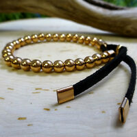 Stretchy Rose-Gold Stainless Steel Bead Bracelet