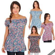 Geblümte Damenblusen, - Tops & -Shirts mit U-Ausschnitt