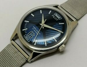 hmt pilot hand winding men's steel blue dial para shock vintage india watch run