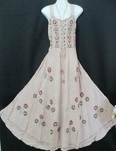 MEDIEVAL RENAISSANCE BOHO BEIGE BEAUTIFUL CORSET DRESS  14 16 18   98-118CMS