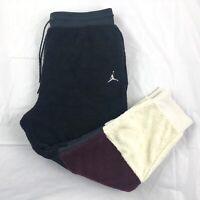 Nike Air Jordan Sherpa Jogger Pants Black White Dark Red BQ6955-010 Men's M-XXL