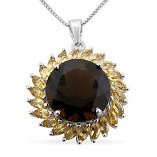 10 cts Round Smoky/smokey Quartz Citrin 925 sterling silver pendant with chain