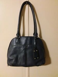 Tignanello Zip Around Dark Navy Blue Leather Satchel Shoulder Bag Multi Pockets