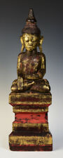 19th Century, Antique Tai Yai Burmese Wooden Seated Buddha