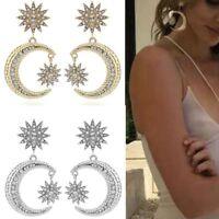 Shiny  For Women Dangle Rhinestone Statement Crystal Earrings Sun Moon Jewelry