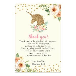 30 thank you cards unicorn gold pink girl baby shower floral blush pink
