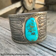 NAVAJO HANDMADE STERLING SILVER & TURQUOISE CUFF BRACELET by AMBROSE ROANHORSE