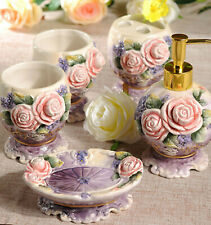 5pcs Royal Embossment Flowers Bathroom Accessory Set Ceramic Soap Dish Dispenser