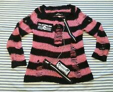 Offbrand sweater punk rock visual kei striped chain zipper