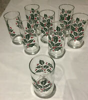 Vintage Libbey Crisal Christmas Holly Berry Tumbler Drinking Glasses Set of 8