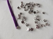 30 x Silvertone métal chromé Ruban Cordon Fin Pince/rabattue Fermoirs 6 mm x 6 mm