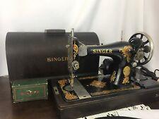 Vtg Heavy Duty 3/4 Singer Sewing Machine Ornate 128 La Vencedora, Bentwood Case