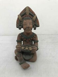 """Hand Crafted Aztec Tribal Clay Figure Statue Sculpture 12"""" Tall"""