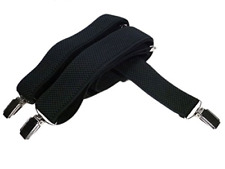 Men's Extra Long XXL fully adjustable Clip on Braces/Suspenders, 3.5cm - Black