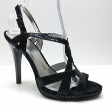 7e74c6f0bb98 Calvin Klein Black Animal Print Leather T Strap Platform Sandal Heels Pumps  10