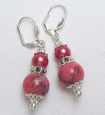 Leverback Glass Silver Plated Round Stone Costume Earrings