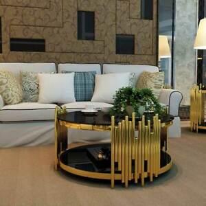 Iris Round Coffee Table GOLD FRAME WHITE MARBLE TOP