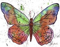 "BUTTERFLY Watercolor  Original PAINTING  8 X 10""  EBSQ Artist Ricky Martin"
