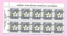 CANADA 1978 English Margin Block of 10 - 15c. FLOWER DEFINITIVE - Precancels MNH