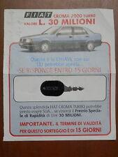 Scheda chiave concorso a premi FIAT CROMA 2000 TURBO 30 milioni 1987 sorteggio